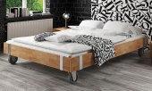 Rama łóżka WILL na kołach z litego drewna