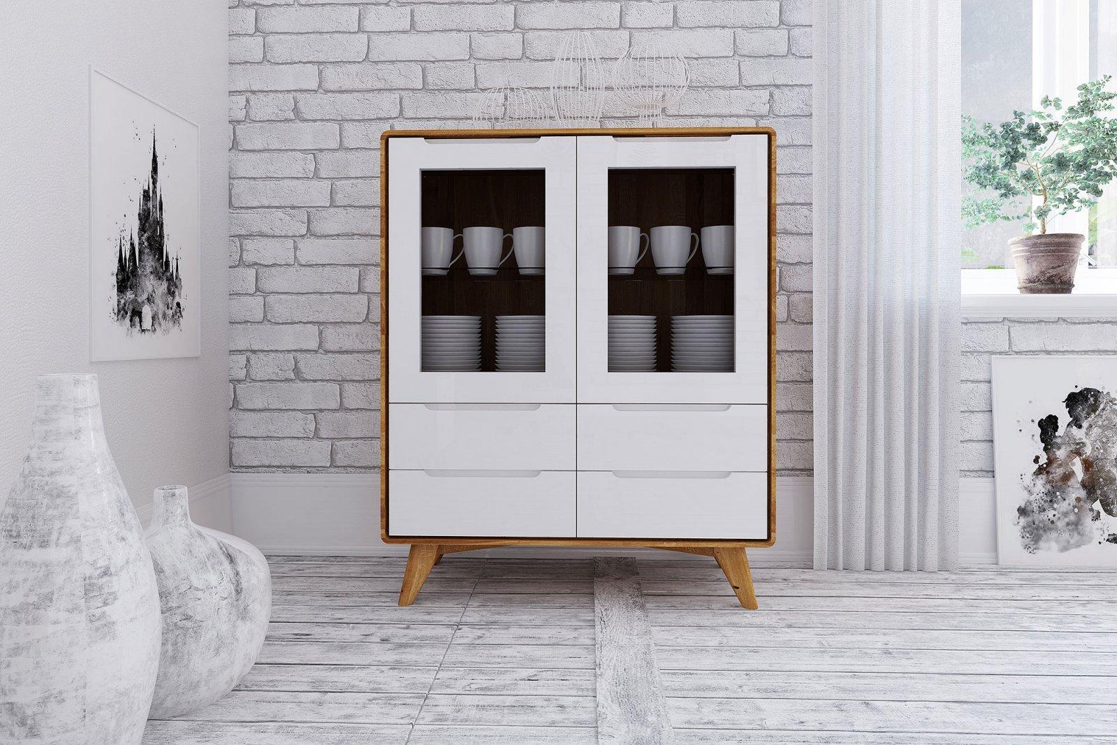 Kredens 2-drzwiowy z 4 szufladami z litego drewna BIANCO