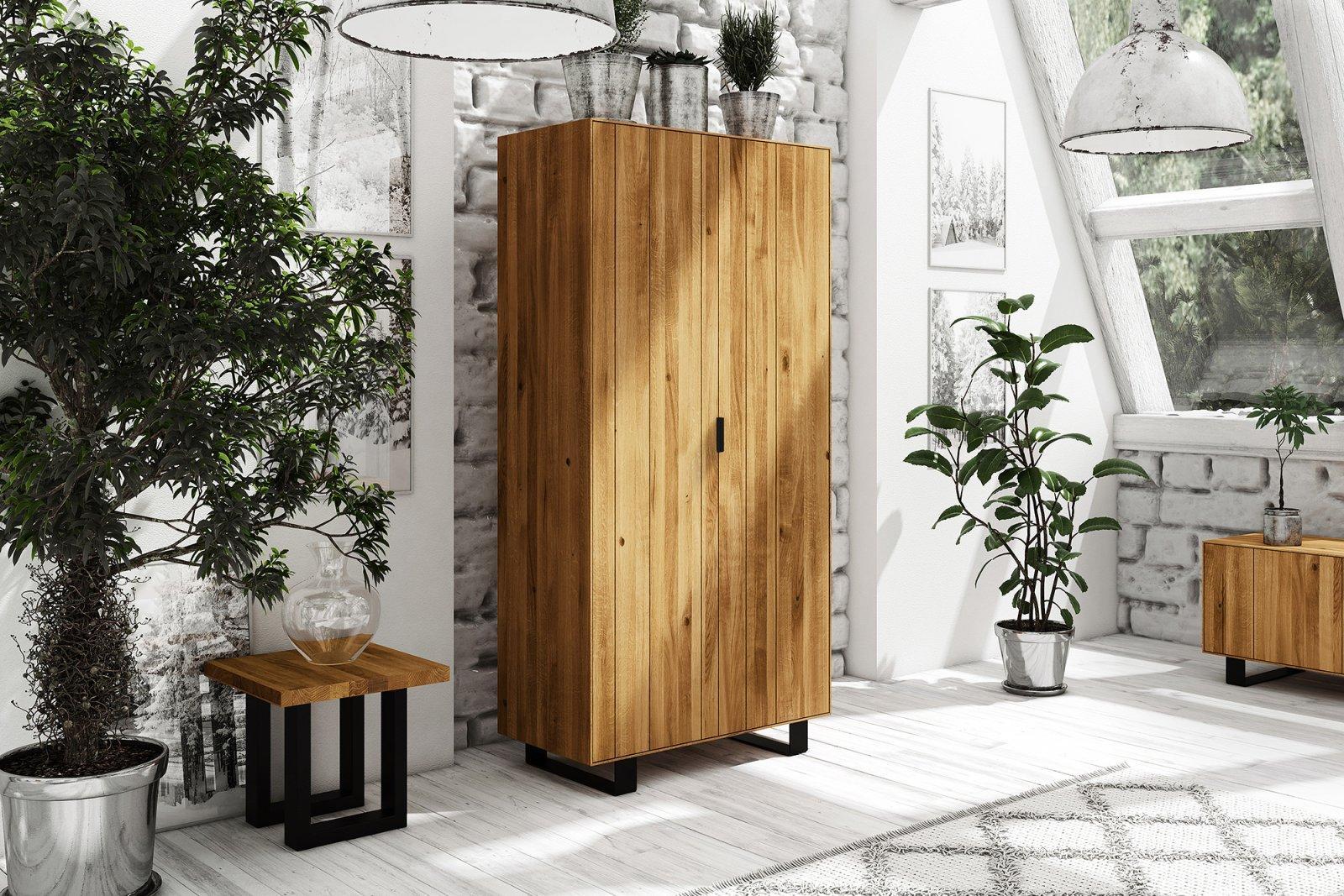 Szafa STEEL 2-drzwiowa z litego drewna