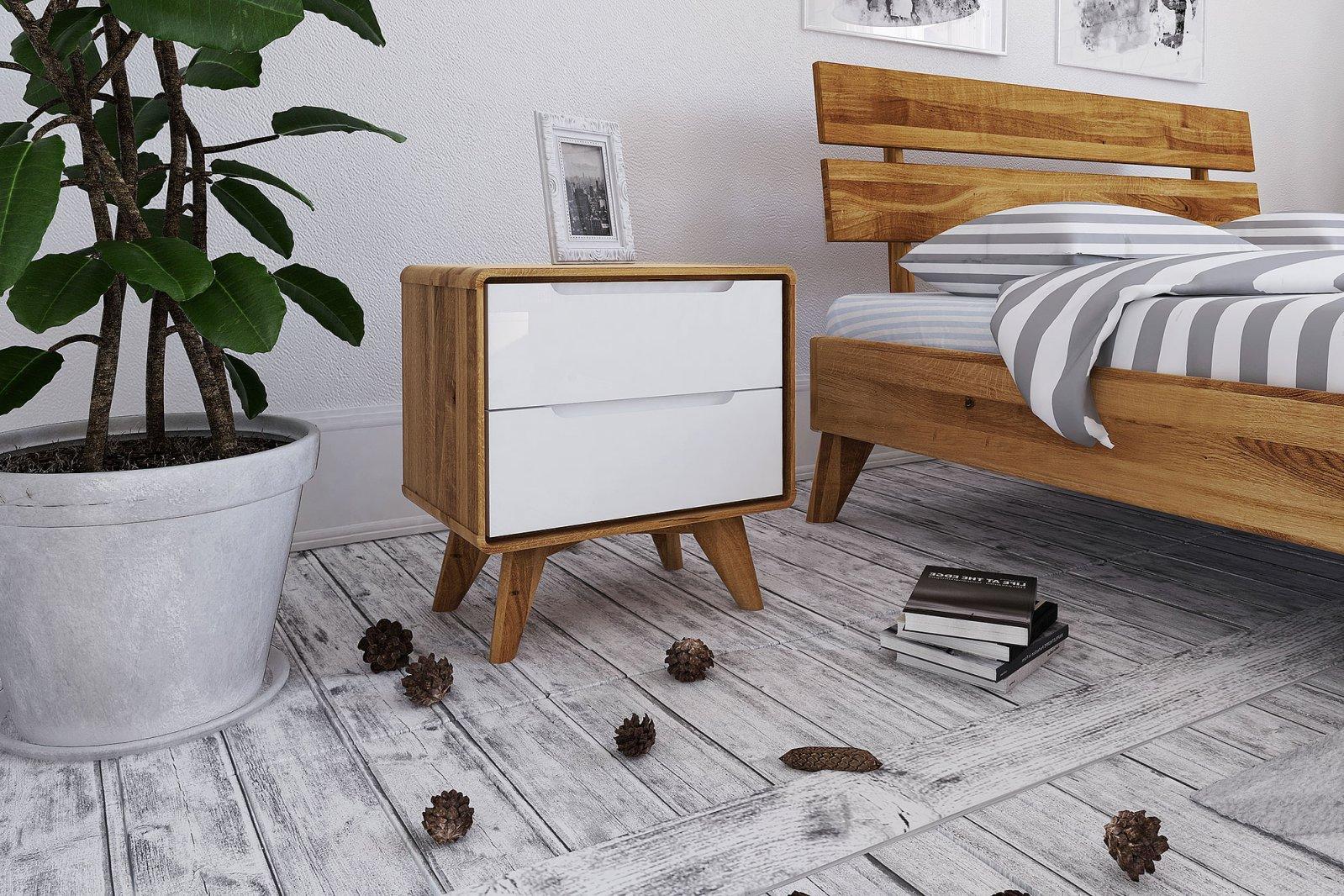 Szafka nocna wysoka z litego drewna z 2 szufladami BIANCO
