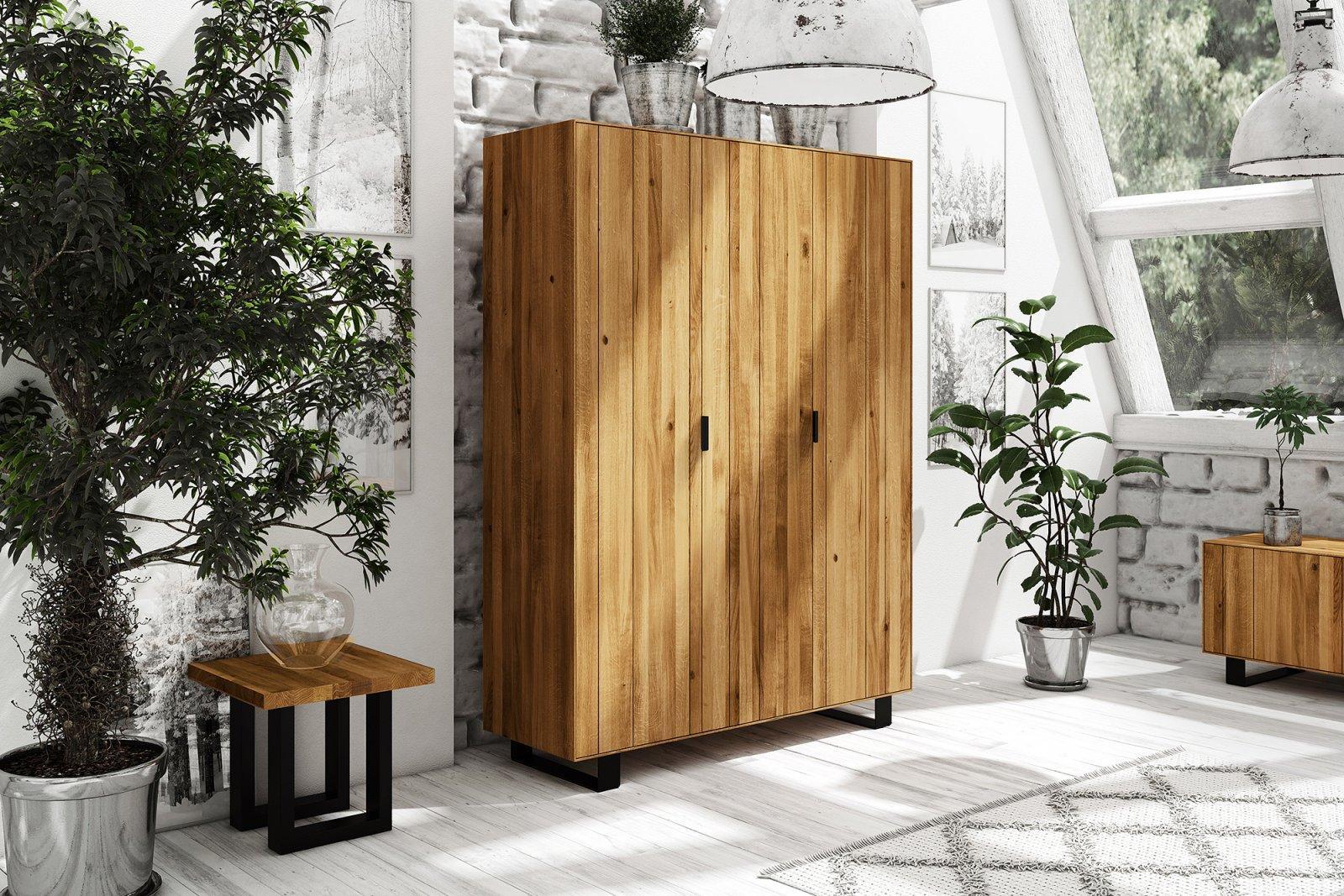 Szafa STEEL 3-drzwiowa z litego drewna