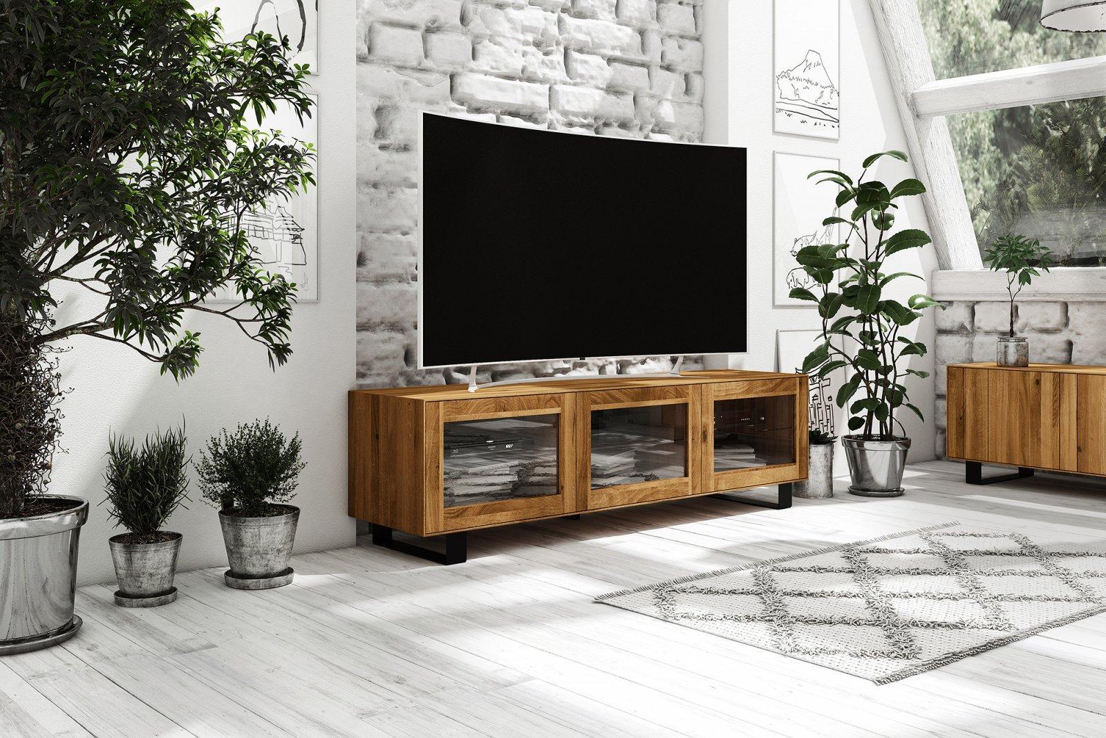 Szafka RTV STEEL z litego drewna