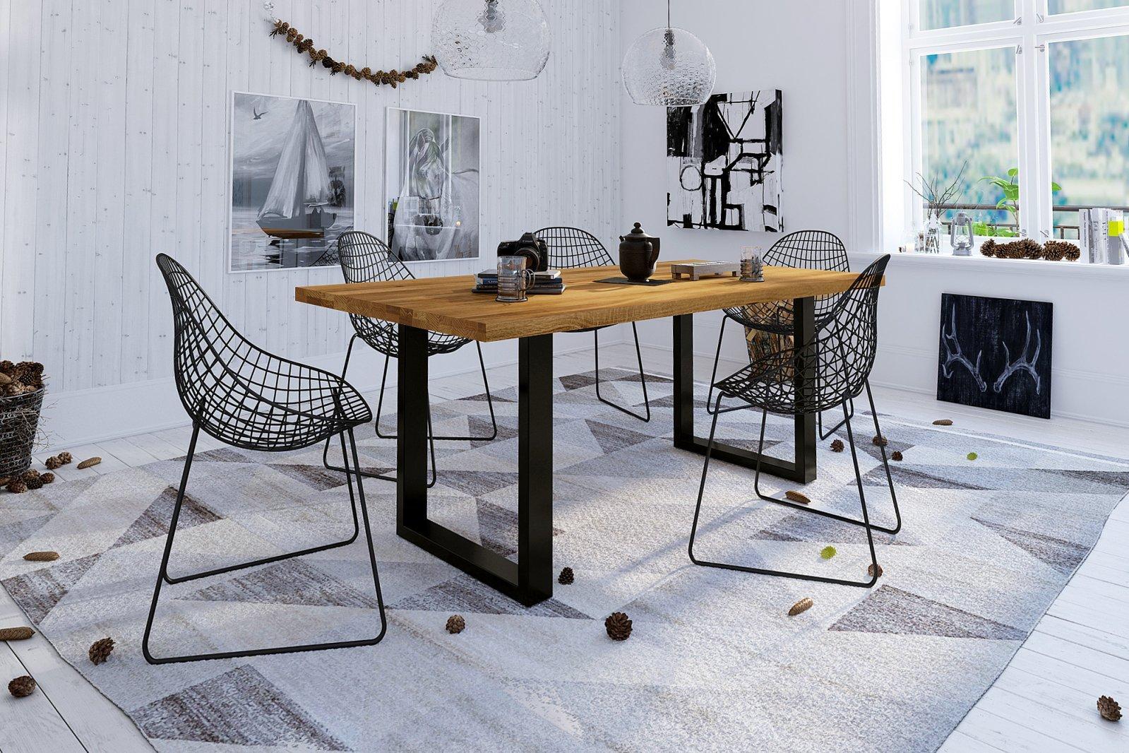 Stół MERCURY nierozkładany z litego drewna i stali
