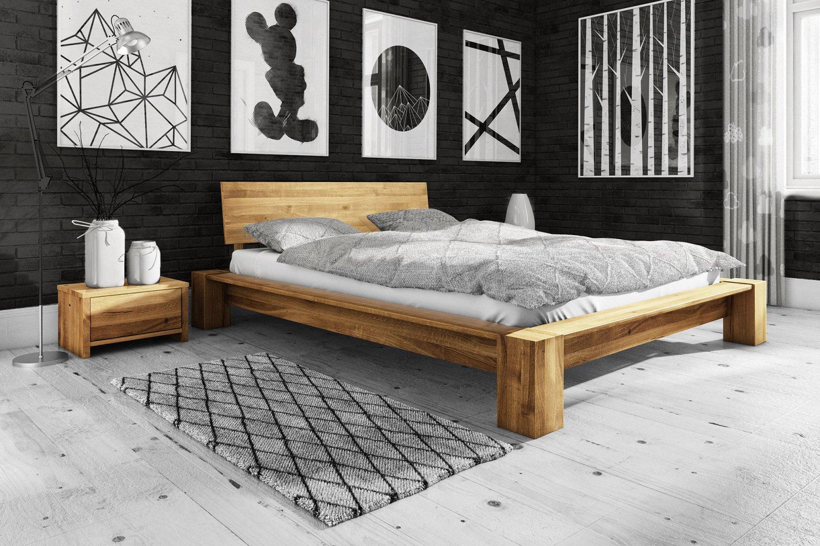 Łóżko JAMES niskie z litego drewna