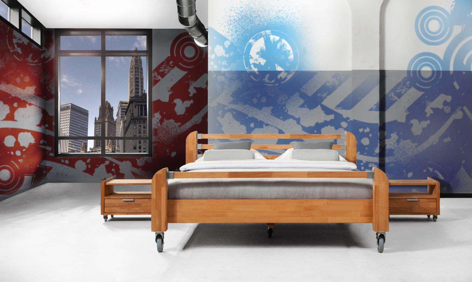 Łóżko HEAVY METAL na kołach z litego drewna
