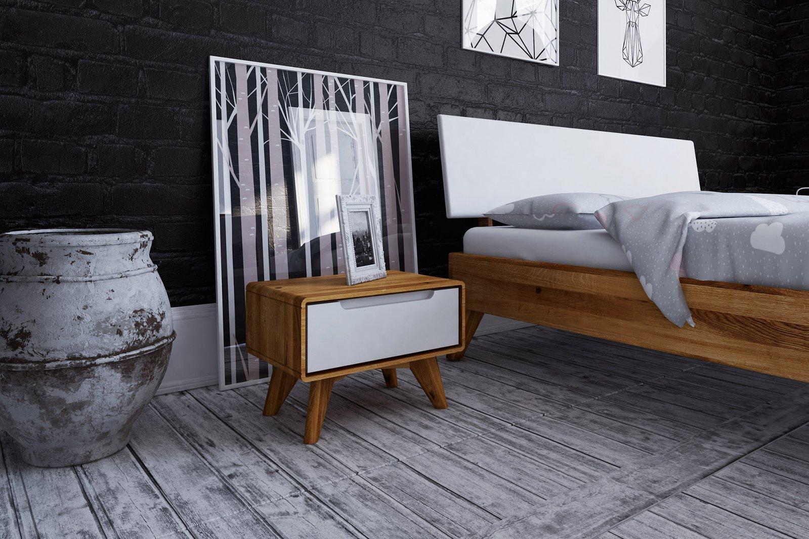 Szafka nocna z litego drewna z 1 szufladą BIANCO
