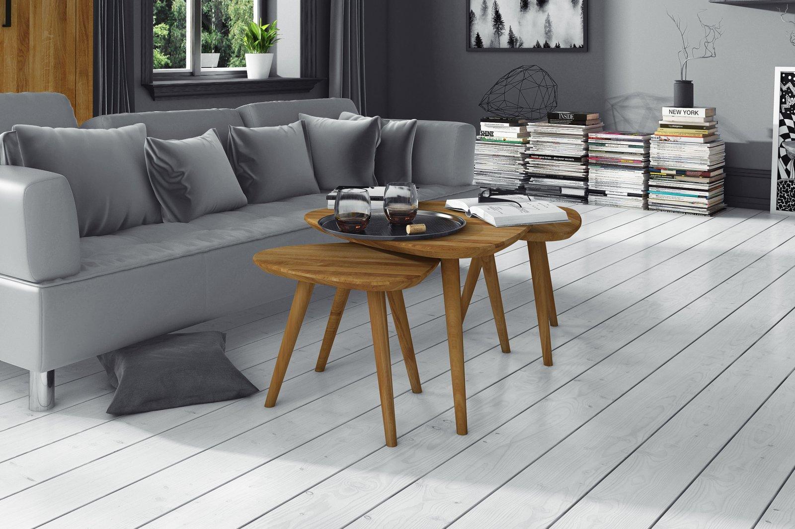 Zestaw stolików MIKI z litego drewna