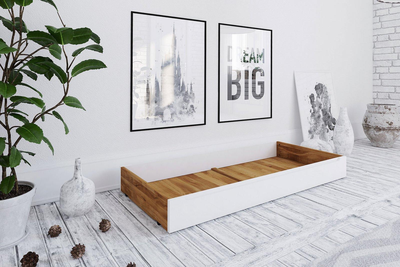 Szuflada pod łóżko z białym frontem BIANCO