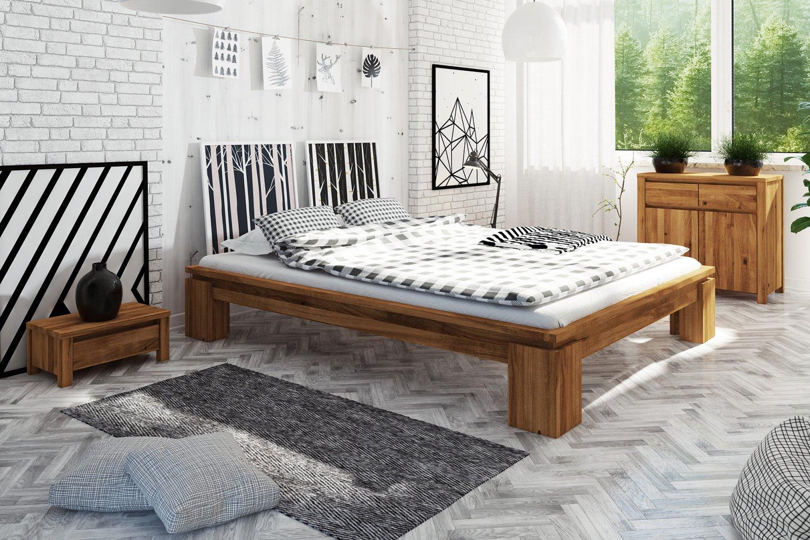 Rama łóżka VINCI wysoka z litego drewna
