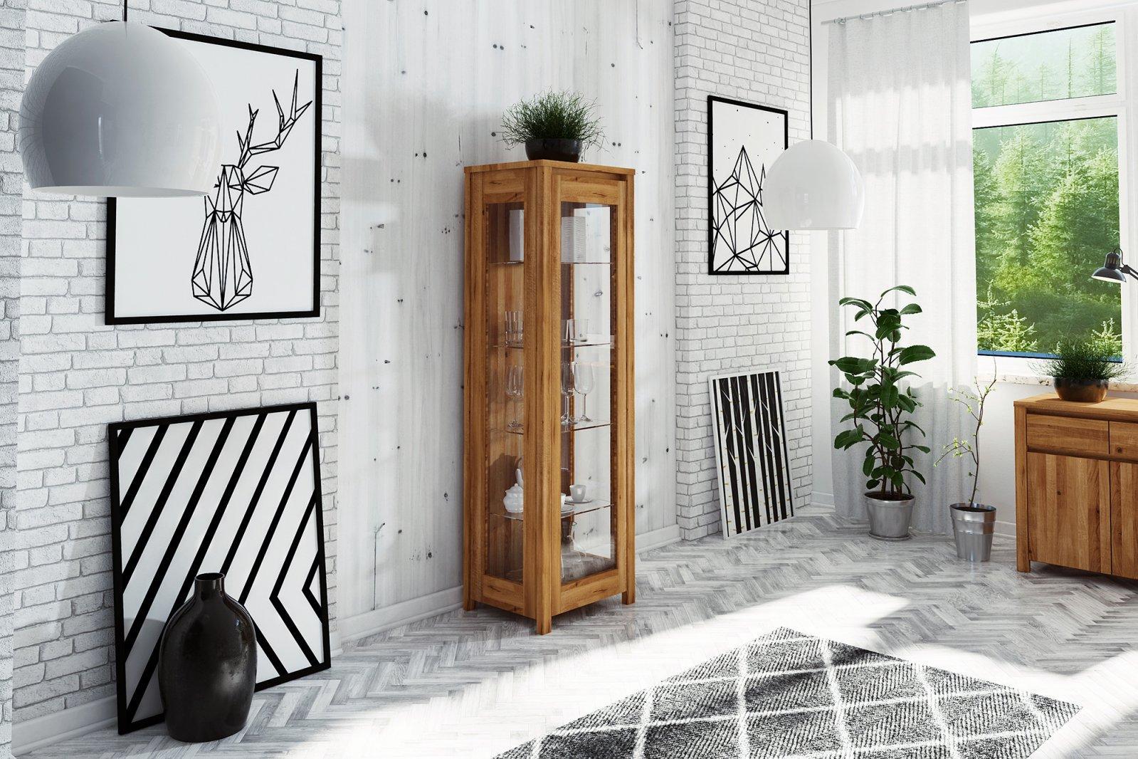 Witryna VINCI wąska z litego drewna