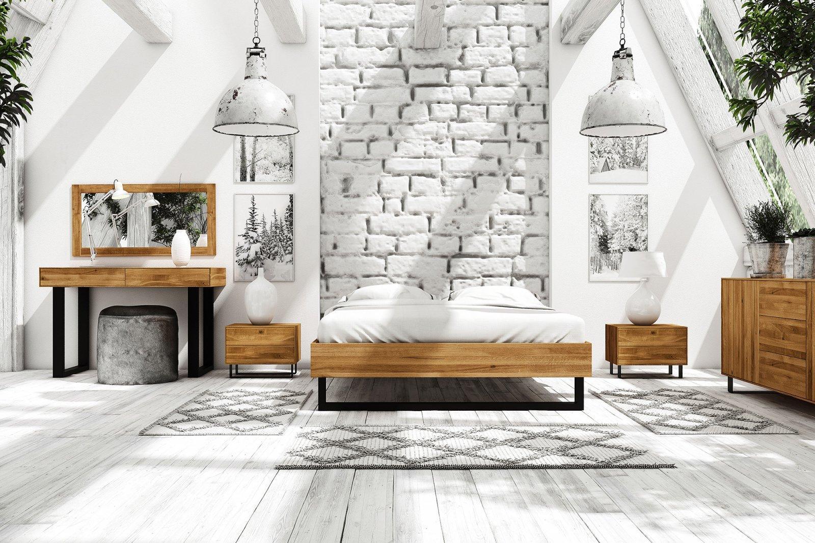 Rama łóżka STEEL z litego drewna