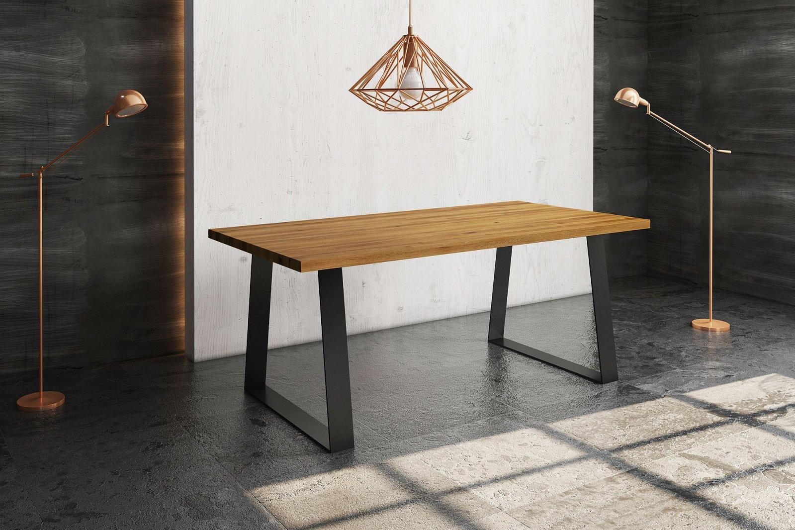 Stół ZINC nierozkładany z litego drewna i stali