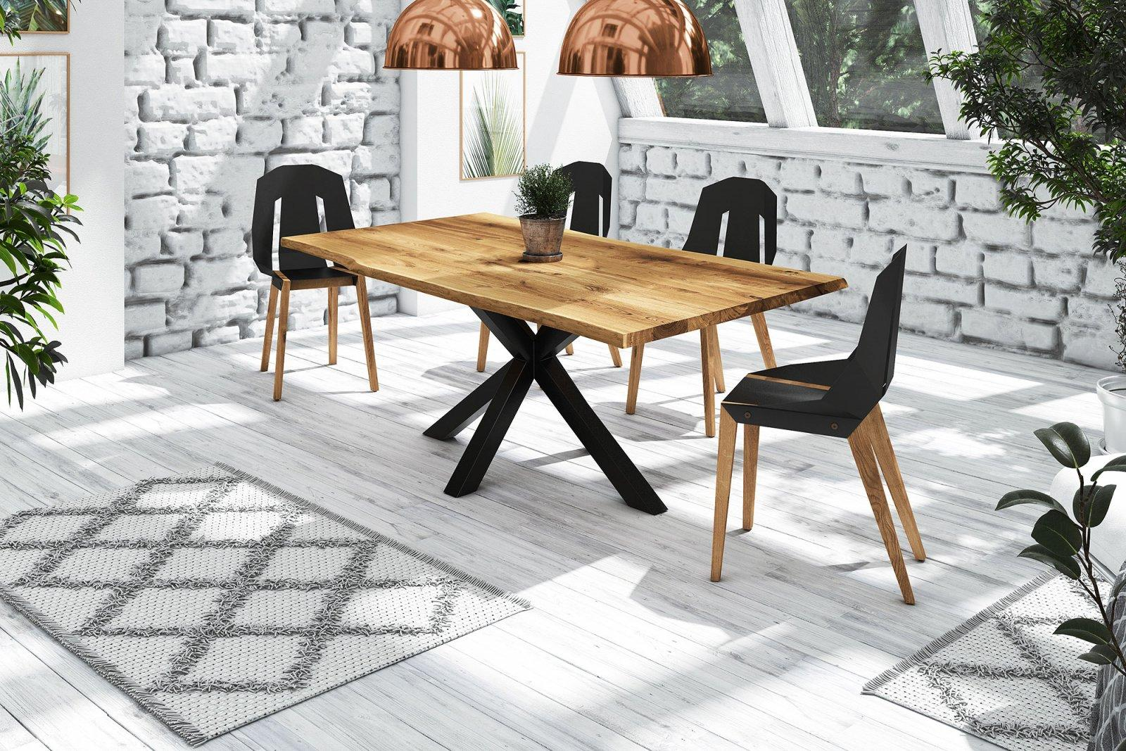 Stół z naturalnym blatem Adao