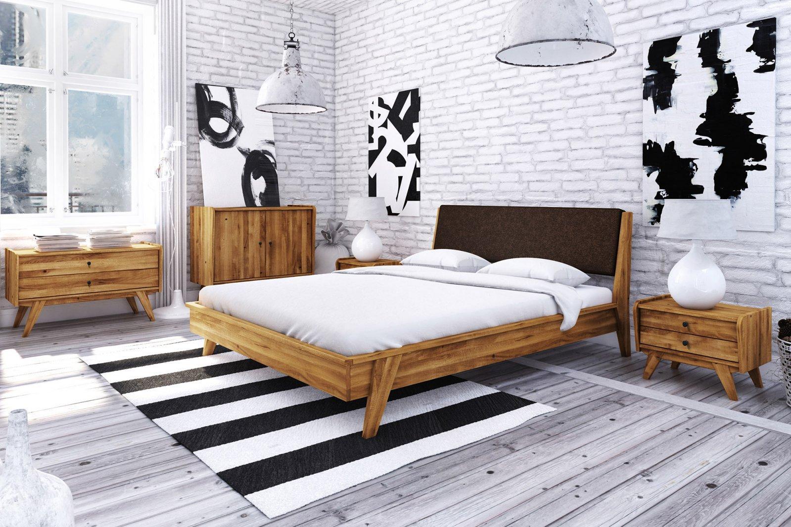 Łóżko RETRO 1 z tapicerowanym szczytem