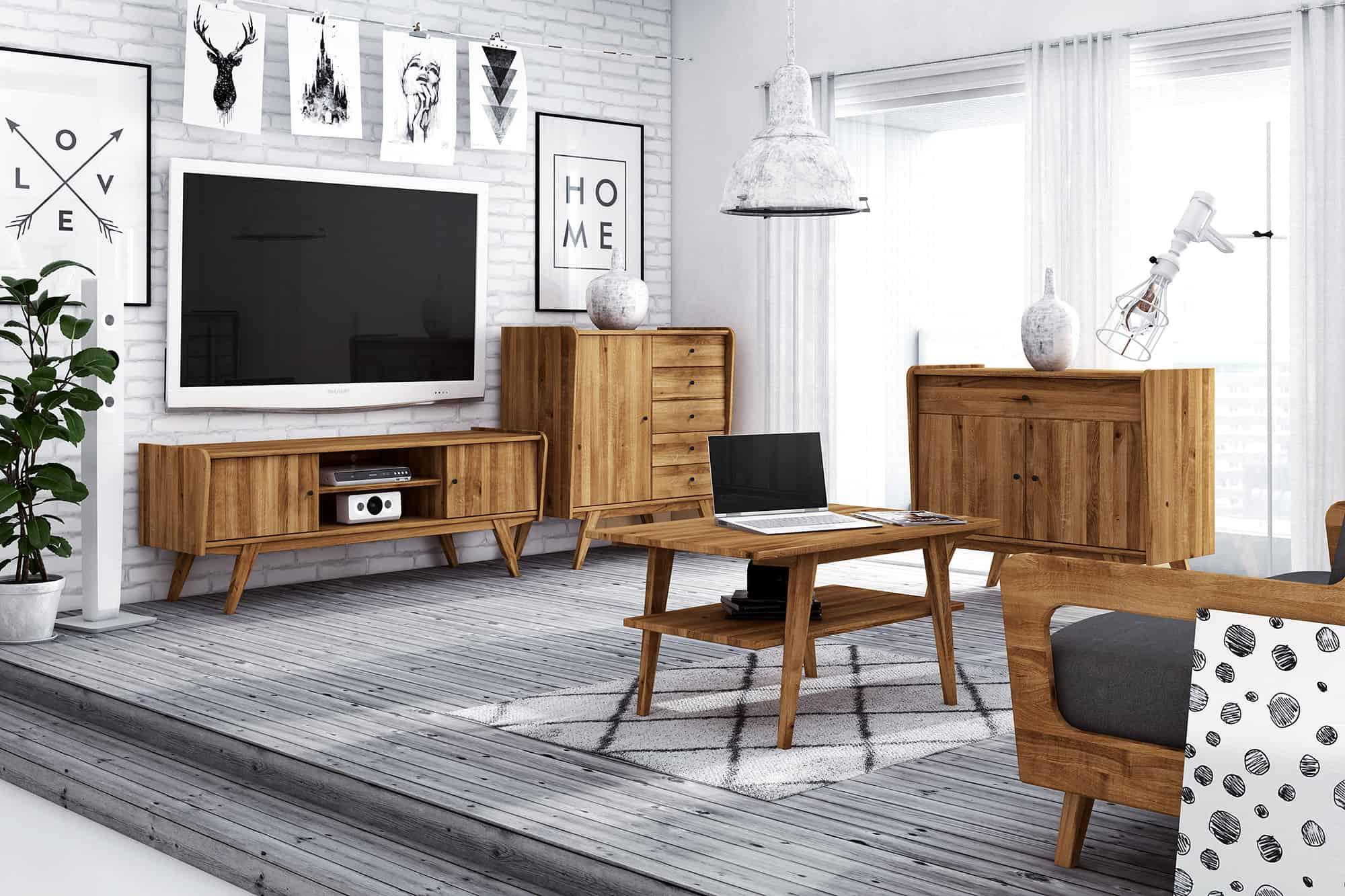 Zdjęcie 3 - RETRO - Kolekcja mebli do salonu z drewna litego