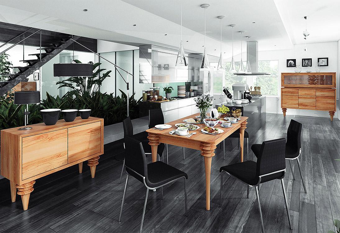 Panorama Graficzna kuchnia z jadalnią - PANORAMA 360°