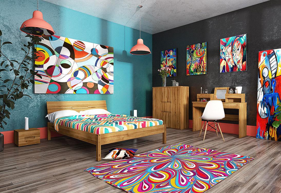 Panorama Arystyczna sypialnia w kolorach tęczy - PANORAMA 360°