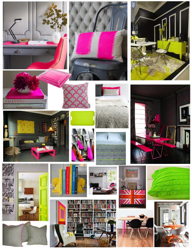 Kolaż zdjęć z wykorzystaniem neonowych kolorów w dekoracjach