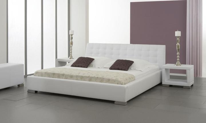 Łóżko z ekoskóry z pikowanym zagłówkiem
