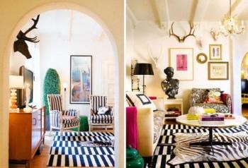 Salony w eklektycznym stylu, z pasiastą podłogą