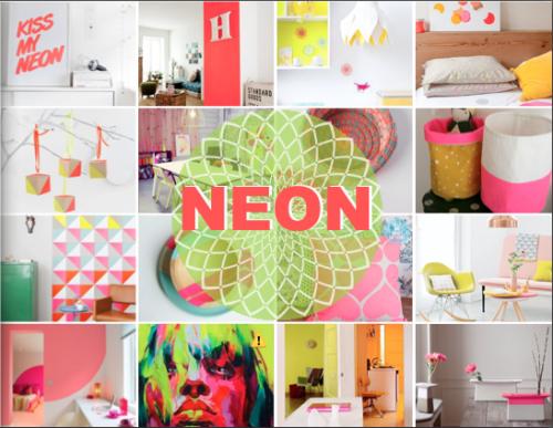 Neonowe dekoracje - kolaż