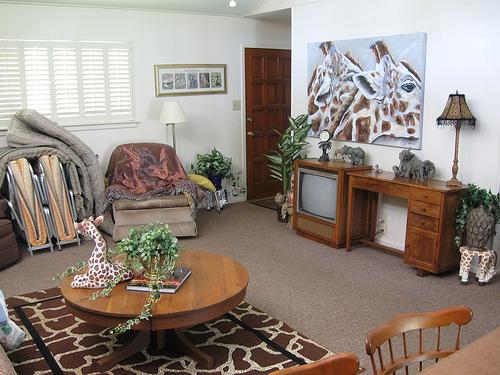 Salon urządzony w stylu afrykańskim, z dominacją wzoru zebry