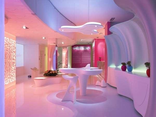 Nowoczesne wnętrze w modernistycznym stylu, o pastelowych kolorach