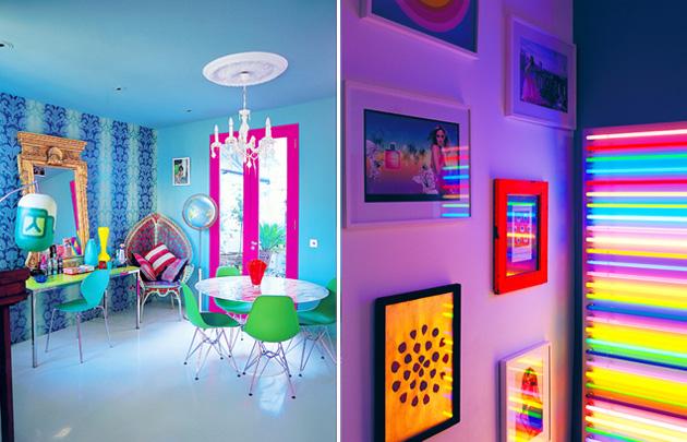 Neonowe kolory na żaluzjach, podłodze i ścianach