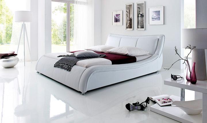 Białe, zdrowe dla kręgosłupa, łóżko z ekoskóry