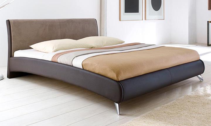 Minimalistyczne łóżko skórzane z bawełną na zagłówku