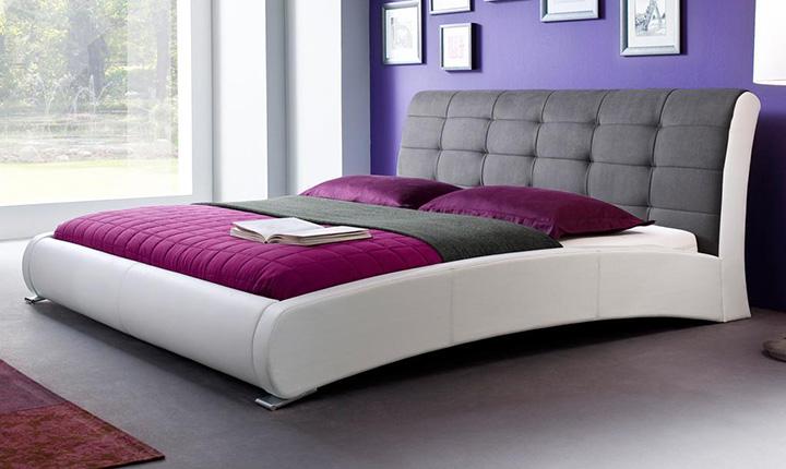 Łóżko z elementami skórzanymi i bawełnianymi