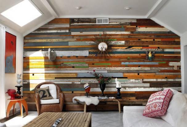 Drewniane panele z desek z odzysku