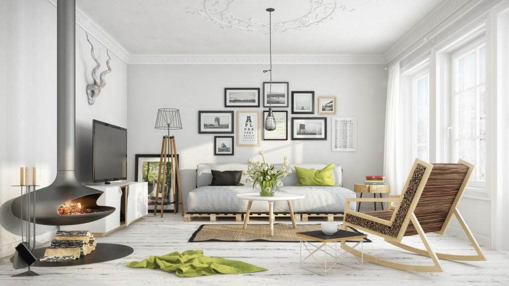 Salon w skandynawskim stylu: kanapa z europalet, naturalne dodatki, jasne kolory