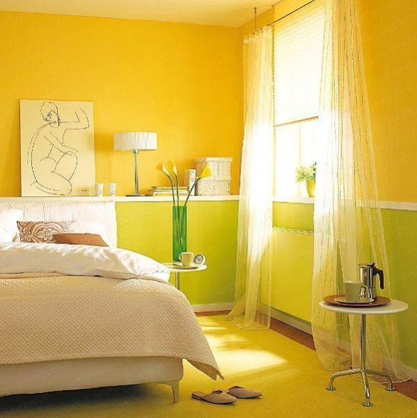 Sypialnia w kilku odcieniach żółci i bieli - połączenie w zielenią w nawiązaniu do tulipanów