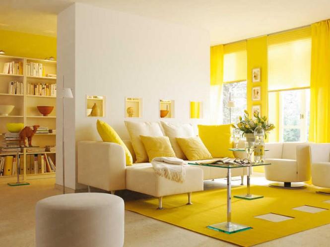 Mieszkanie odważnie urządzone w kolorze żółtym i białym