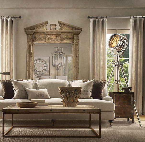 Salon o wystroju rustykalnym, z lampą fotograficzną