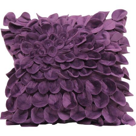 Poduszka z drapowaniem w kształcie płatków kwiatu, w kolorze wrzosu