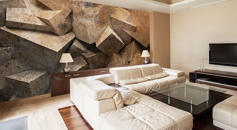 Nowoczesny salon z naturalnymi dodatkami i realistyczną fototapetą przedstawiającą skały