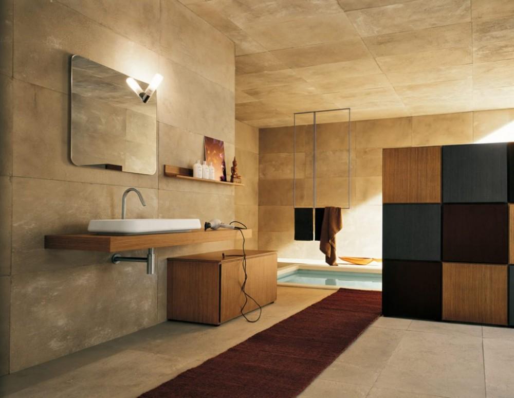 Nowoczesna łazienka z wanną na poziomie podłogi, niczym basen