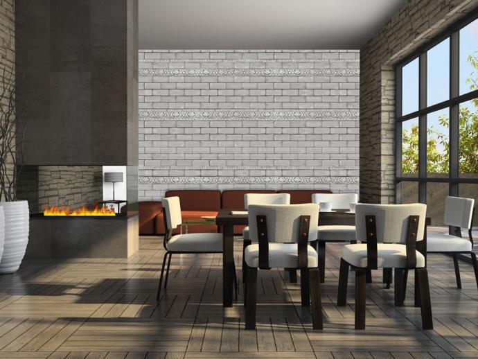 Surowy salon z jadalnią, z ozdobną ścianą w cegły