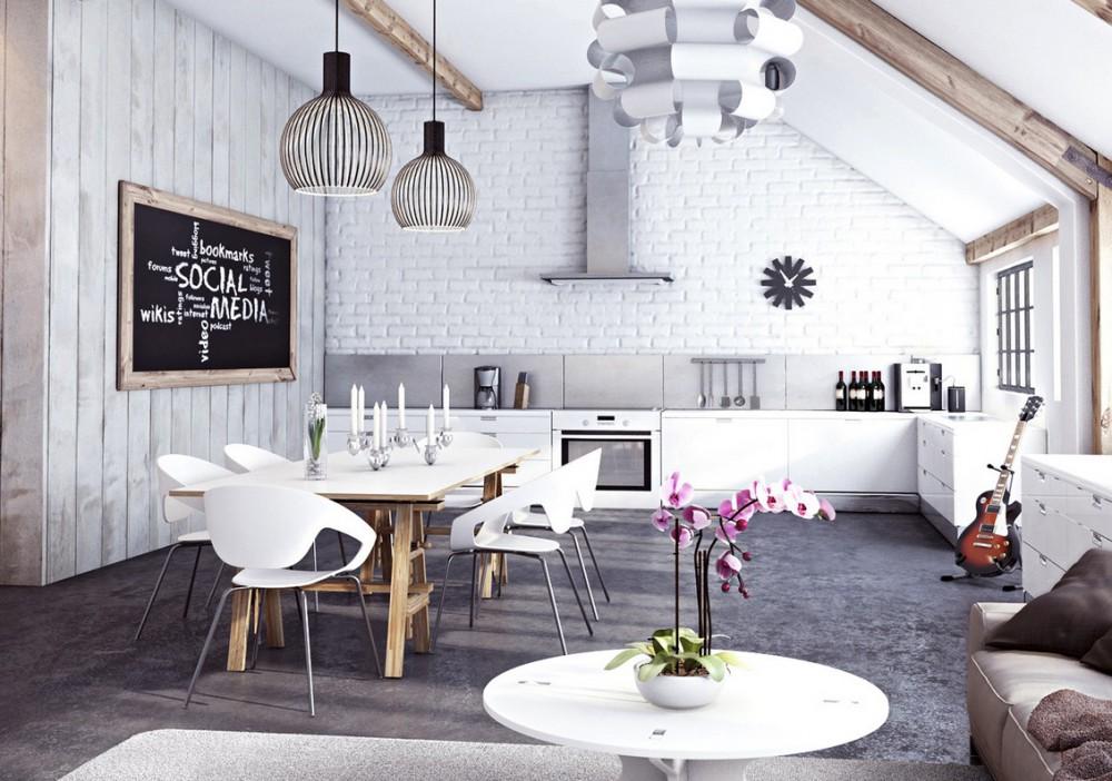 Salon z kuchnią w stylu loft, z ceglaną ścianą pomalowaną na biało