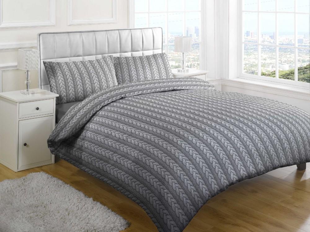 Nowoczesna, szara narzuta na łóżko, robiona drutach