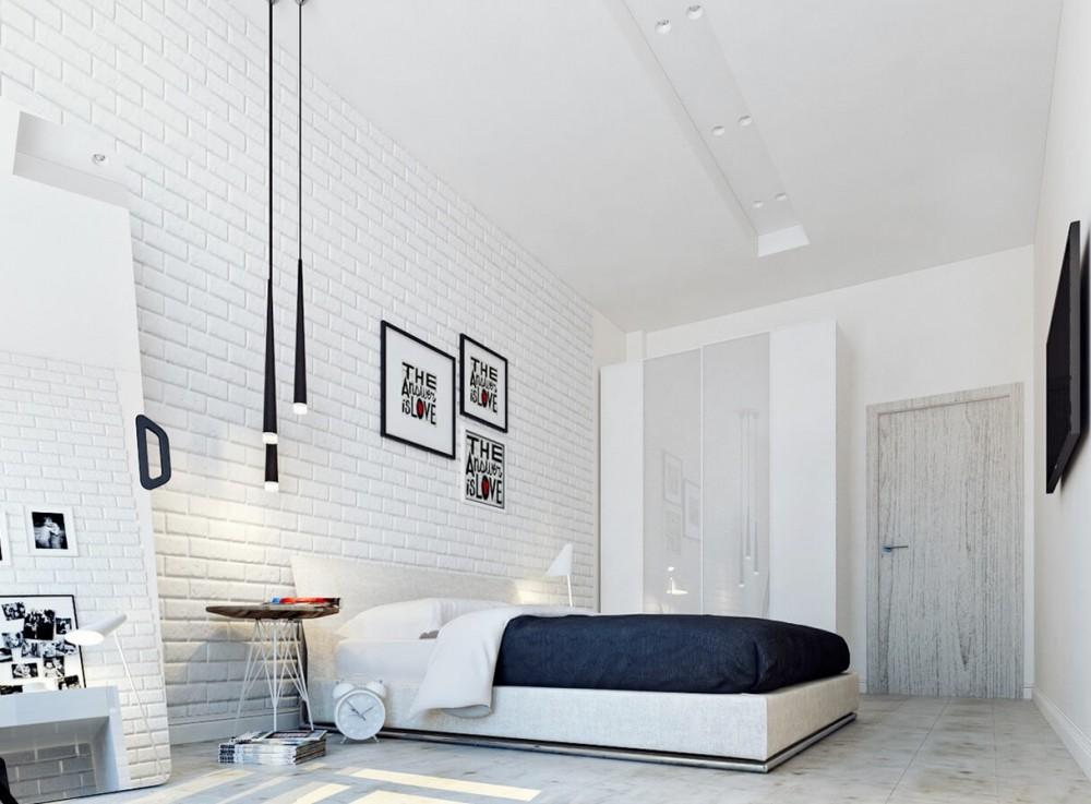Sypialnia w minimalistycznym stylu, z jedną ścianą wyłożoną fototapetą przedstawiającą białą cegłę
