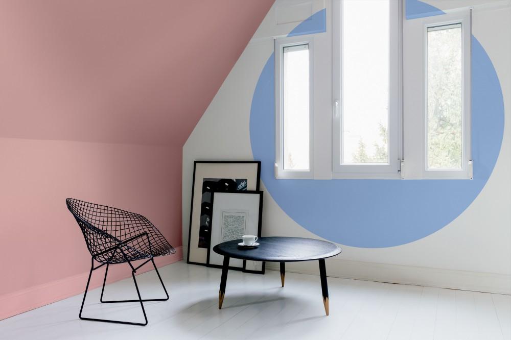 Nowoczesne pomieszczenie z geometrycznymi kształtami z wykorzystaniem kolorów 2016 roku
