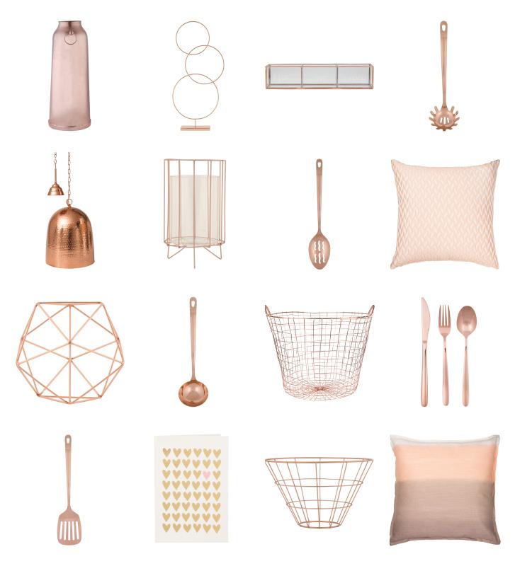 Zdjęcie artykułów kuchennych i dodatków dekoracyjnych w kolorze różowego złota