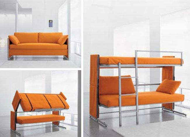 Sofa i łóżko piętrowe w jednym