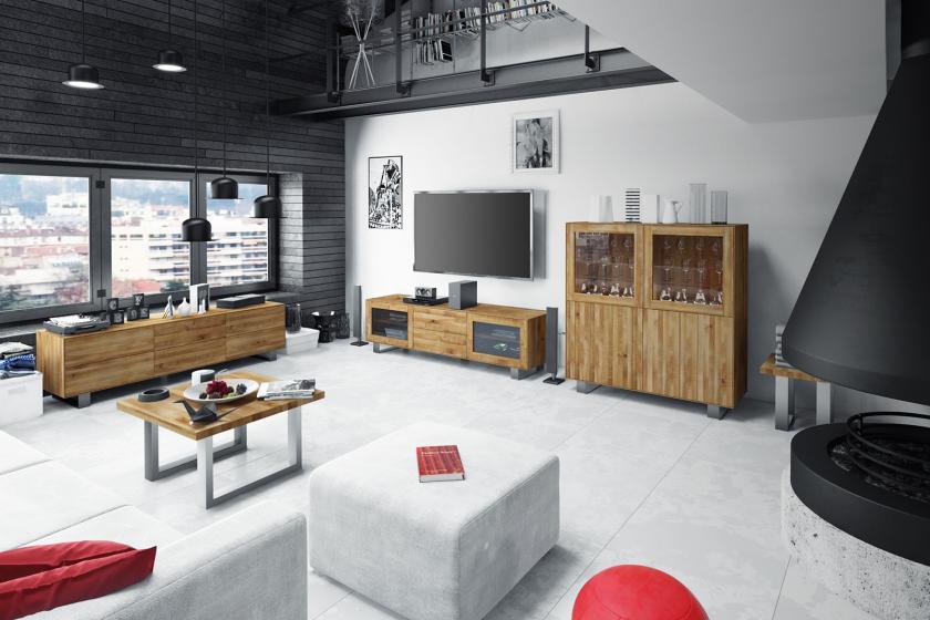 Salon z nowoczesną meblościanką