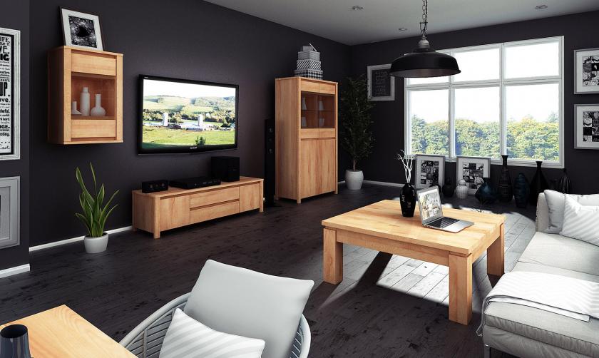 Minimalistyczny salon z drewnianymi meblami firmy Beds