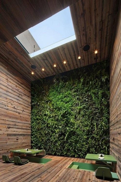 Naturalne wnętrze z drewniany materiałami i ścianą roślinną