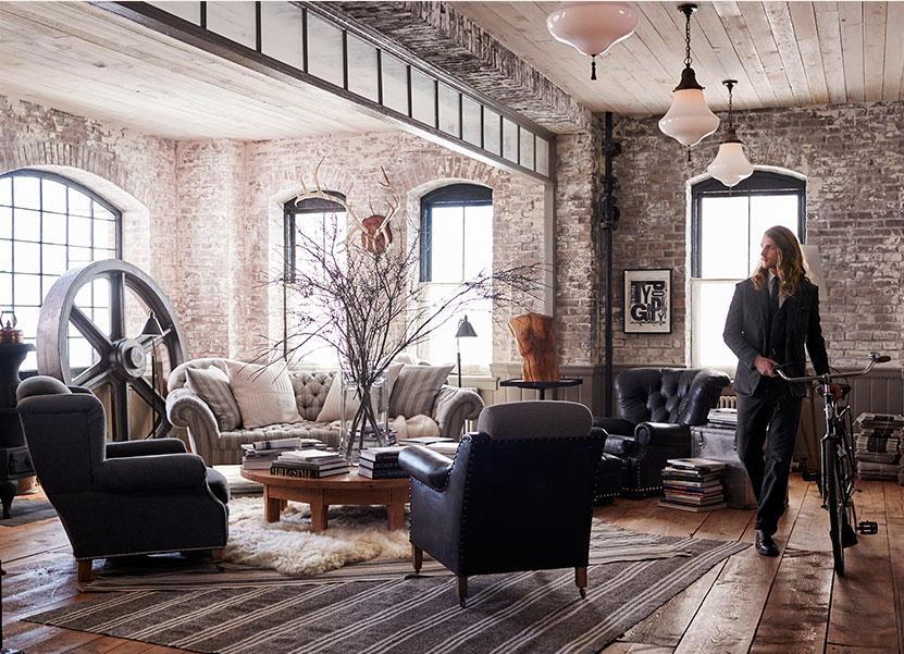Salon w eklektycznym stylu Ralpha Laurena